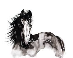 black mustang horse horse wall art black and white horse painting print of
