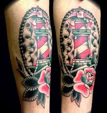 beautiful lighthouse and rose tattoo tattoomagz