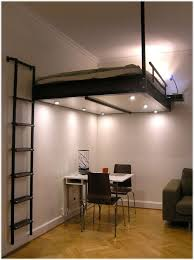 contemporary loft bed with stairs for small apartments for