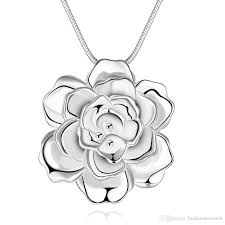 sterling silver flower necklace images Wholesale romantic rose flower necklace pendant fashion 925 jpg