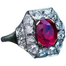 ruby engagement rings art deco 2 60 carat burmese ruby diamond gold platinum engagement