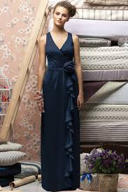 v neck ruched flower long elegant navy junior bridesmaid dresses
