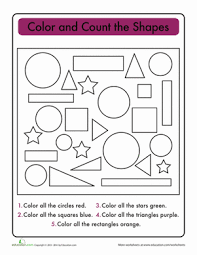 super shapes count and graph worksheet education com