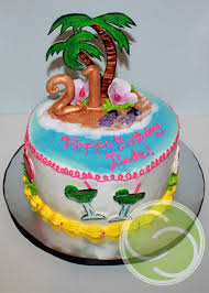 2d luau themed party cake for 21st birthday the custom cakery