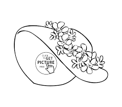 summer hat coloring page for girls printable free