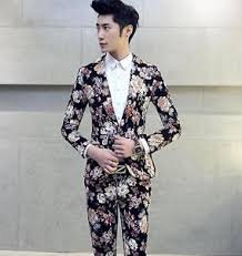 yjh mens tuxedo one button casual coat pant floral printed formal