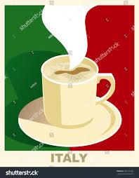 Vintage Flag Art Art Deco Coffee Poster Flag Italy Stock Illustration 393135766