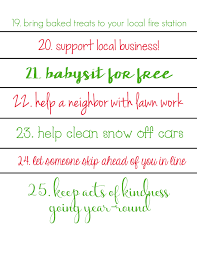 acts of kindness christmas countdown calendars free printables