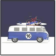 Camper Van Blinds Blue 16 Campervan With Surfboard Skateboard Balls And Bike