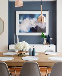 modern scandinavian style dining room with feature blue wall inset