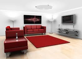interior plush red and white interior of minimalist living room