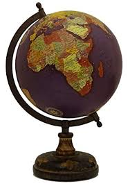 Earth Home Decor by Large Purple Decorative Rotating Globe World Geography Ocean Earth