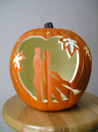 carved bridal fall wedding and groom carved decorative pumpkin wedding