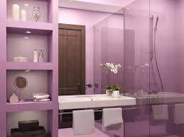 awesome purple bathroom ideas with nice cabinets and wall paint