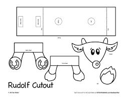 3d rudolf cutout art project art for kids hub