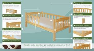 toddler bed baby bed 96 solid pine wood clear finish incl