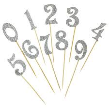 cake topper numbers cake topper kit silver glitter numbers