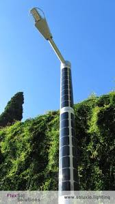 solar panel street lights solar powered street light soluxio near a remote forest road in