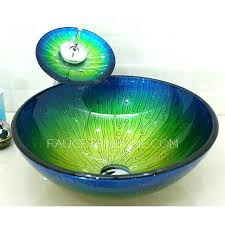 Vessel Sink Waterfall Faucet Glass Vessel Sinks Blue And Green Mediterranean Faucet Included