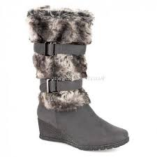 womens boots pavers pavers womens boot grey calf length wedge faux fur boot s4food eu