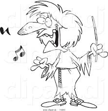 vector of cartoon witchy music teacher coloring page outline by