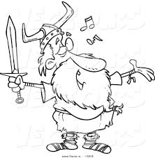 vector of a cartoon female viking singing song and holding spear
