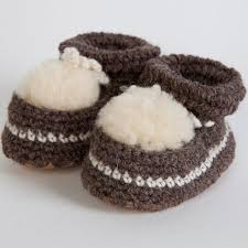 warm sheepskin crocheted baby booties slippers for babies or