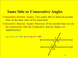 Same Side Interior Definition 1 Angles And Parallel Lines 2 Transversal Definition A Line That