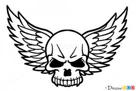skull with wings drawing clipartxtras