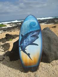 beach signs home decor large great white shark surfboard ocean blue beach sign surfing