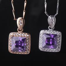 18ct white gold diamond amethyst lovely 18ct white gold plated amethyst crystal pendant necklace