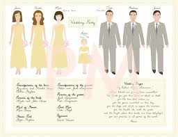 how to create a wedding program bridal party illustrations by papermaids emmaline
