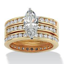 marquise cut wedding set 3 65 tcw marquise cut cubic zirconia 18k gold sterling silver