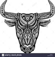 bull taurus buffalo painted tribal ethnic ornament vector stock