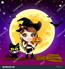 cat halloween background cartoon devil cat cute witch holding stock vector 224914714