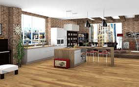 cuisine dans loft cuisine avec îlot dans grande pièce ouverte style loft industriel