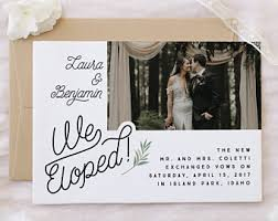 elopement announcements elope announcement etsy