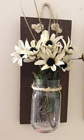 Wooden Wall Sconce Rustic Wood Clear Mason Jar Wall Sconce Set Of 2 Beachfront Decor