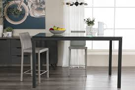 60 inch dining room table ina matte black 60 inch counter table w clear glass living spaces
