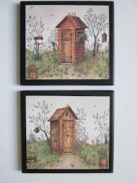 amazon com outhouse bathroom plaques his u0026 hers 2 piece set