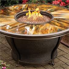 outdoor gas fire pit table tioga outdoor gas fire pit table with stained and sealed glass top