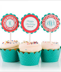 monogram cupcake toppers key monogram birthday party cupcake toppers