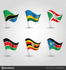 Flag Of Tanzania Vector Set Of Waving Flags Uganda Rwanda Burundi Kenya