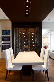 modern cable floating wine racks wow guests in vancouver home floating wine rack wine wall behind modern dining table