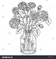 flower in vase drawing bouquet flowers vase hand drawn black stock vector 433418569