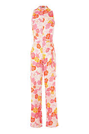 floral high neck jumpsuit by glamorous petite topshop