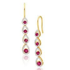 ruby drop earrings rosalyn ruby diamond drop earrings 18ct yellow gold g11251859