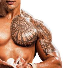 shoulder to chest tattoo temporary tattoo maori the rock chest u0026 shoulder maori tattoos