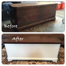 refinished this old cedar chest used as a coffee table and