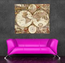 Vintage World Map Canvas by High Resolution World Map Vintage Canvas Art Oil Painting Wall